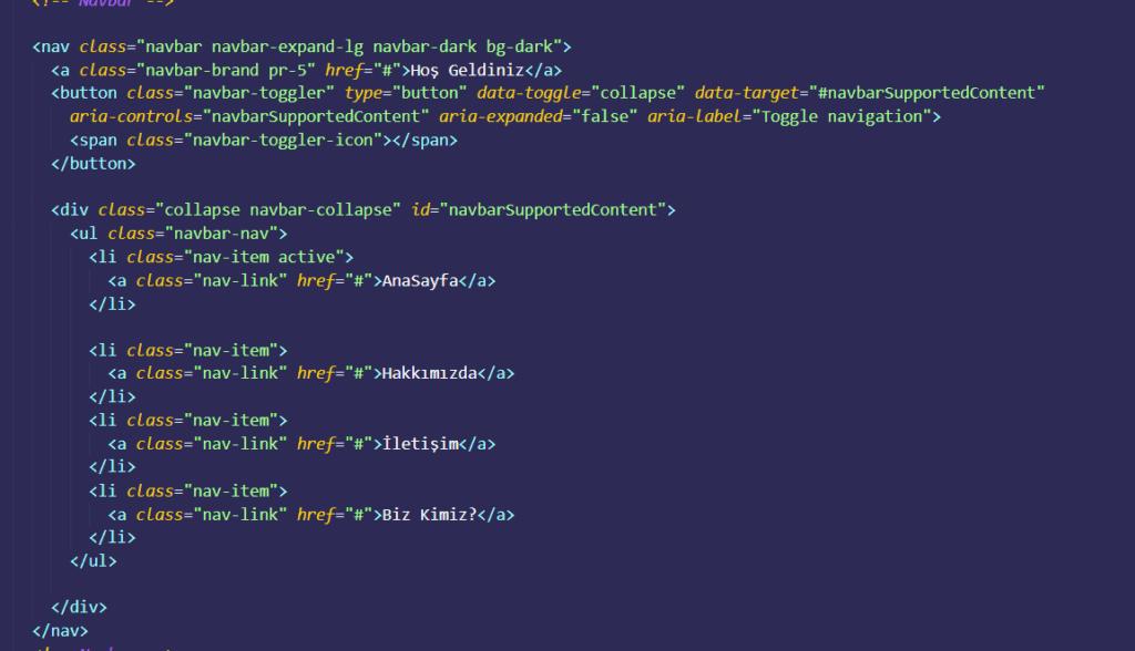 bootstrap nav menu kodları
