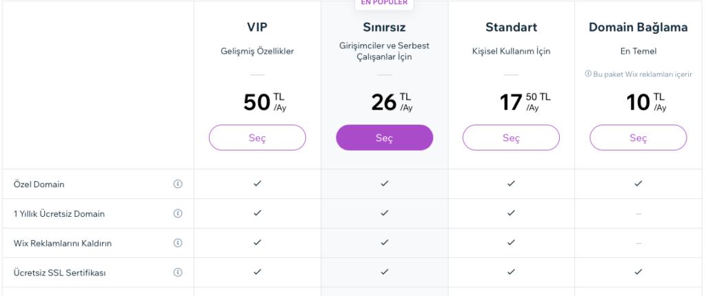 wix site kurma fiyatları
