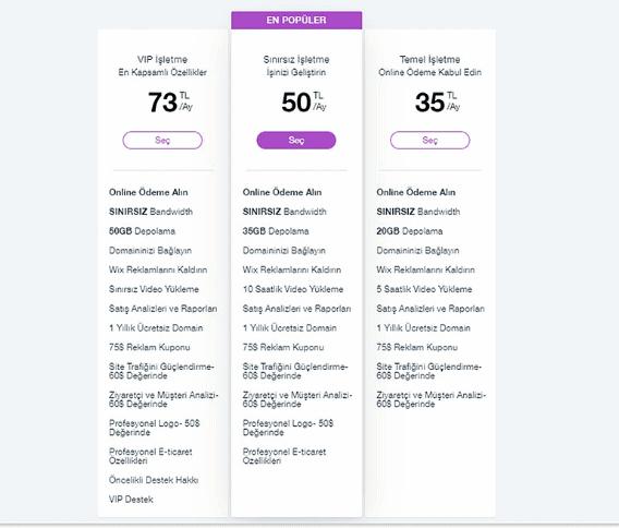 wix-e-ticaret-fiyatlari
